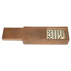 Antique Dominoes in old Original Wood Box Game