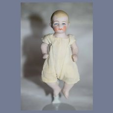 Antique Doll Bisque Jointed Character Dollhouse Dressed
