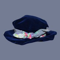 Blue Velvet Doll Hat with Floral Ribbon Bow