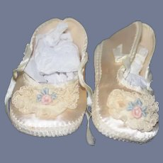 White Silk And Flower Detail Doll Shoes