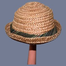 Woven Straw Doll Hat with Rainbow Ribbon Accent