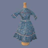 Vintage Doll Dress Floral W/ Pleats Sweet