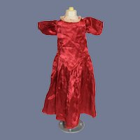 Old Silk Blend Red Lace Collar Doll Dress