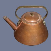 Vintage Miniature Dollhouse Copper Metal Teapot 2.5 inches tall