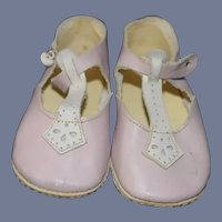 Beautiful Pink Leather Doll Shoes 4.5 inches