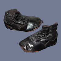 Antique Side Button Black Leather Doll Boots 4 inch