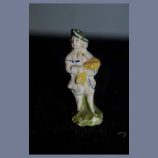Miniature All Bisque Painted Doll Figurine