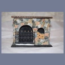 Wonderful Vintage Stone Fireplace W/ Metal Screen Doll Dollhouse