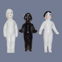 Antique Doll Frozen Charlotte Dolls Miniature Two White Dolls One Black Doll