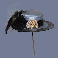 Vintage Sweet Doll Hat Bonnet Fancy Feathers Rhinestone W/ Brim Fashion Doll