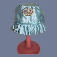 Beautiful Sweet Doll Satin Bonnet Hat W/ Rhinestone Crown