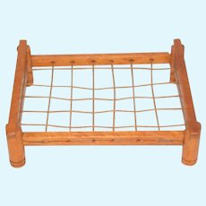 Miniature Wood Rope Bed Dollhouse
