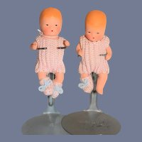 Miniature Painted Twin Baby Dolls in Matching Knit Onesies