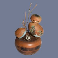 Vintage Kokeshi Japanese Wood Mother and Baby Bird Sitting In Nest