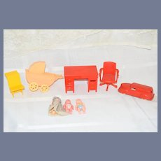 Miniature Plastic Toy Set with Two Babies