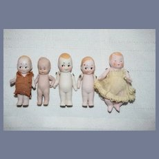 Five Antique German Miniature All Bisque & Googly Baby Dolls