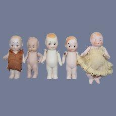Five Antique German Miniature All Bisque & Googly Baby Dolls