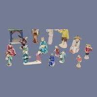 Set of Miniature Painted Ceramic Dolls