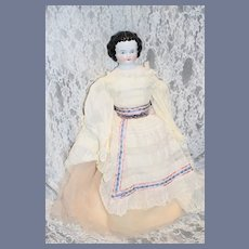 Antique Doll China Head Unusual Hair Style Sweet Clothes