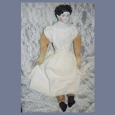 Antique Doll China Head Ears Exposed Center Part W/ Curls