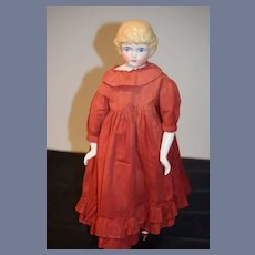 Antique China Head Doll Kling Pouty Lips Bangs Sweet