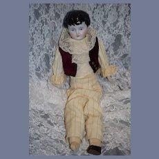 Antique Doll China Head Boy Doll Side swipe Bangs