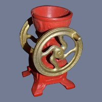 Miniature Red Cast Iron Flour Grinder