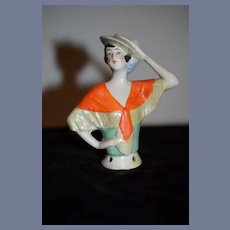 Antique Doll China Head Half Doll Art Deco