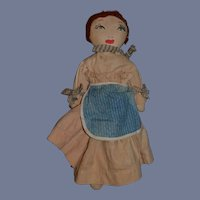 Old Rag Doll Cloth Doll Sewn Features Dressed