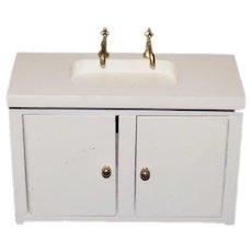 Miniature White Wood Dollhouse Sink