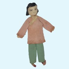 Old Miniature Oriental Cloth Doll Dollhouse Charming