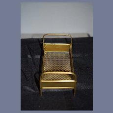 Miniature Gold Metal Doll Bed Frame