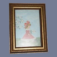 Vintage Miniature Painting Little Girl W/ Flower Dollhouse