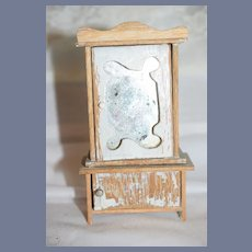 Old Doll Miniature Shabby Wardrobe W/ Mirror and Two Doors