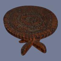 Vintage, Rustic, hand carved miniature Wood Round Table Folk Art