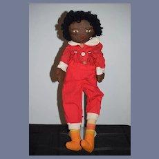 Homemade 1930's Cloth Black Stitched Rag Doll