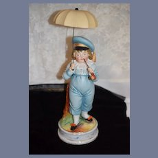 Antique Heubach Boy W/ Pipe and Parasol Nice Size