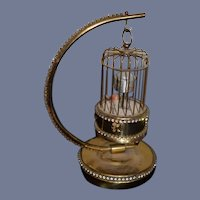 Wonderful Doll Miniature Bird Cage Ornate W/ Moving Bird Fancy W/ Bird Cage Stand Wind Up