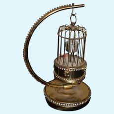 Wonderful Doll Miniature Bird Cage Ornate W/ Moving Bird Fancy W/ Bird Cage Stand Wind Up