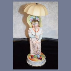 Wonderful Heubach Umbrella Girl Porcelain Large Doll