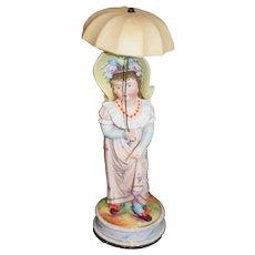 Wonderful Heubach Umbrella Girl Porcelain Large Doll
