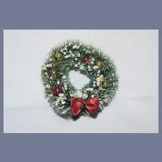 Old Miniature Christmas Dollhouse Wreath For Doll