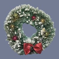Old Miniature Christmas Dollhouse Wreath For Doll