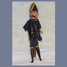 Old Wood Carved Doll Puppet Police From Punch & Judy Large