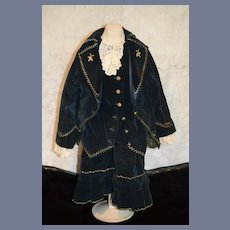 Wonderful Antique  Doll Dress and Jacket Set Velvet W/ Fancy Embroidery For French Doll