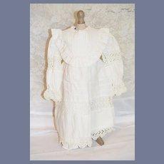 Vintage Doll Dress Wrap Collar Cotton and Crochet Lace Undergarments