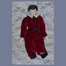 Antique China Head Doll Dressed W/ Old Cloth Body Boy