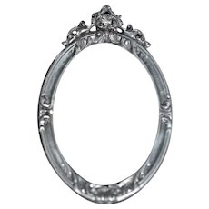 ELIAS Fine Pewter USA Miniature Oval Metal Picture Frame