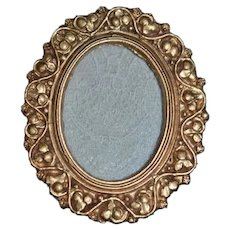 Vintage ITALY marked Miniature Round Gold Tone Metal Picture Frame 2 1/2 inches