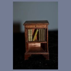 Sweet Miniature Wood Book Case W/ Faux Books Dollhouse Doll
